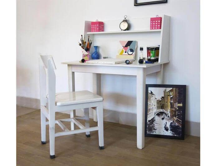 میز تحریر دخترانه سفید گنجینه