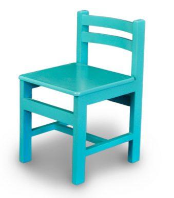 صندلی چوبی کودک رنگ آبی فیروزه ای