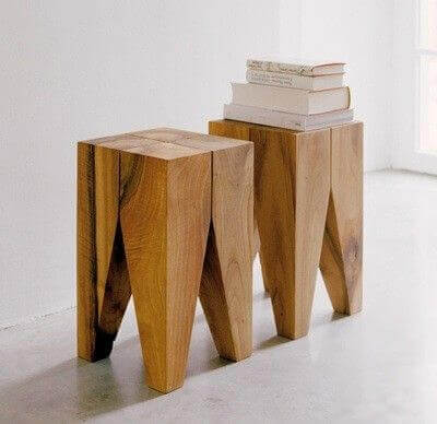 صندلی چوبی با استفاده از برش کنده های درخت مناسب برای دیزاین کافی شاپ و رستوران ها و منزل