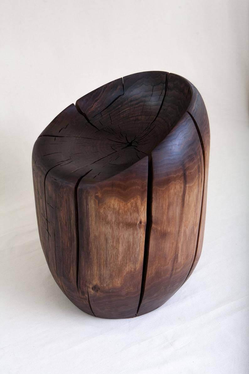 صندلی چوبی با استفاده از برش کنده های درخت