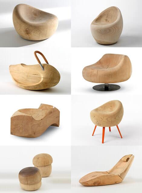 صندلی چوبی با استفاده از برش کنده های درخت مناسب برای دیزاین کافی شاپ و رستوران ها