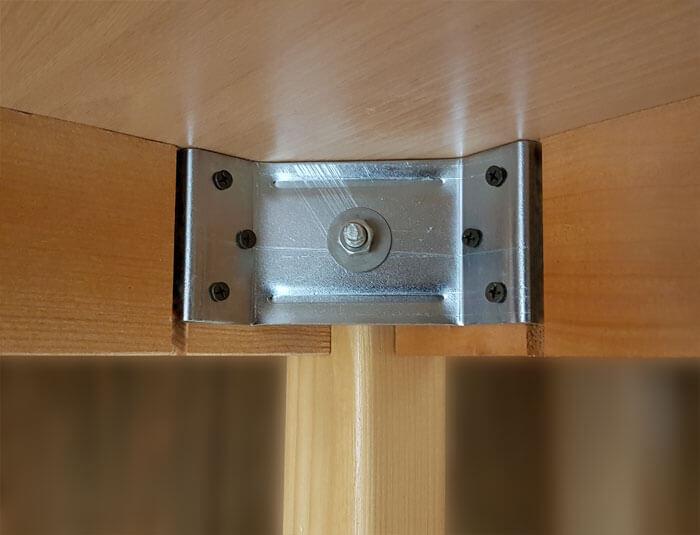 نحوه اتصال محکم و مخصوص پایه های میز به صفحه میز و قید های متصل به میز