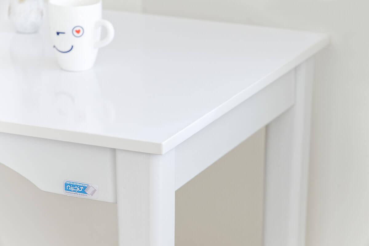 میز مطالعه سفید چوبی گنجینه