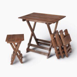 میز و صندلی ناهار خوری چهار نفره تاشو چوبی کمجا